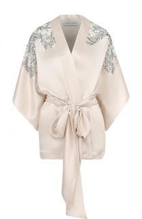 Шелковый халат с поясом и кружевными вставками Carine Gilson