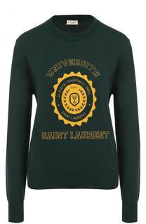 Пуловер с круглым вырезом и принтом Saint Laurent
