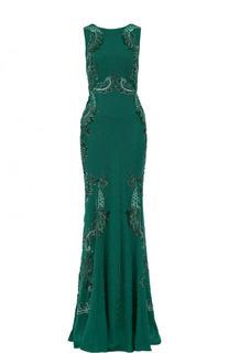 Приталенное шелковое платье-макси с вышивкой бисером Roberto Cavalli