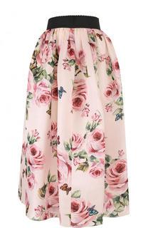 Шелковая юбка-миди с принтом и контрастным поясом Dolce & Gabbana