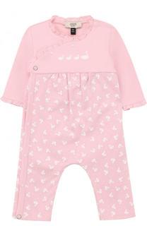 Хлопковая пижама с принтом и оборками Armani Junior