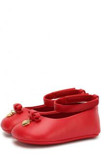 Кожаные пинетки на ремешке с бантами Dolce & Gabbana