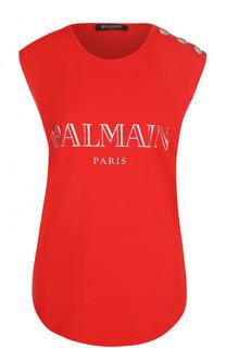 Хлопковый топ с круглым вырезом и логотипом бренда Balmain
