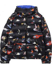Пуховая куртка с принтом и капюшоном Moncler Enfant