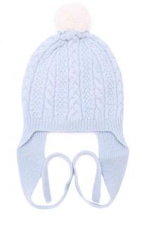 Кашемировая шапка фактурной вязки с помпоном Baby T