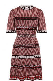 Приталенное мини-платье с круглым вырезом и коротким рукавом M Missoni