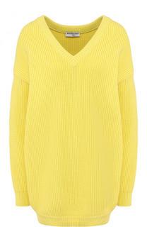 Хлопковый пуловер свободного кроя с V-образным вырезом Balenciaga