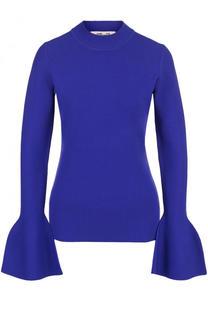 Однотонный пуловер с расклешенными рукавами и круглым вырезом Diane Von Furstenberg