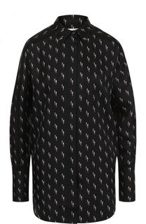 Шелковая блуза прямого кроя с принтом Victoria by Victoria Beckham