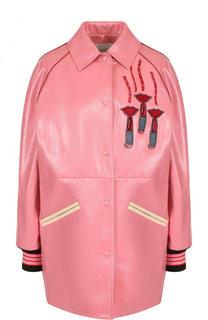 Кожаная куртка с отложным воротником и контрастной отделкой Valentino