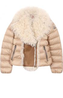 Пуховая куртка с отложным воротником и меховой отделкой Moncler Enfant