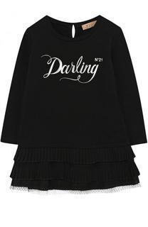 Хлопковое мини-платье с оборками и принтом No. 21