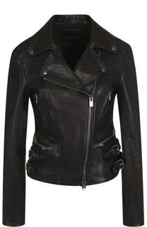 Приталенная кожаная куртка с косой молнией DROMe