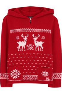 Вязаный пуловер с принтом и капюшоном Polo Ralph Lauren