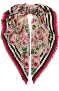 Шарф из смеси кашемира и шелка с цветочным принтом Dolce & Gabbana