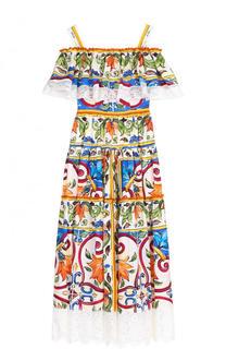 Хлопковое платье-миди с принтом и оборкой Dolce & Gabbana