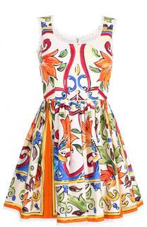 Хлопковое мини-платье с принтом Dolce & Gabbana