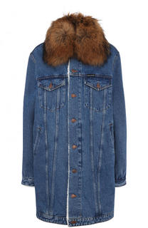 Джинсовое пальто с потертостями и воротником из меха енота Forte Couture