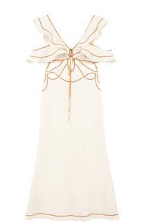 Льняное платье-миди с оборками Zimmermann