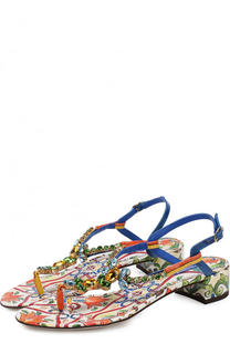 Кожаные сандалии Infradito с принтом Dolce & Gabbana
