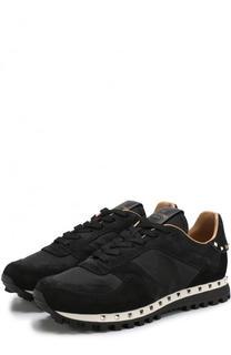 Комбинированные кроссовки Studded на шнуровке Valentino