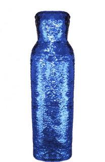 Приталенное платье-бюстье с пайетками Oscar de la Renta