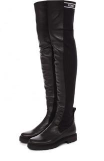 Кожаные ботфорты с вязаной вставкой Fendi