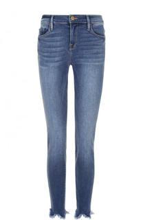 Укороченные джинсы-скинни с потертостями и бахромой Frame Denim