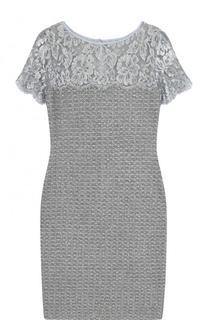 Приталенное буклированное платье-миди с кружевной вставкой St. John