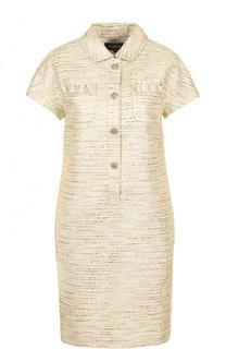 Буклированное платье-рубашка с коротким рукавом St. John
