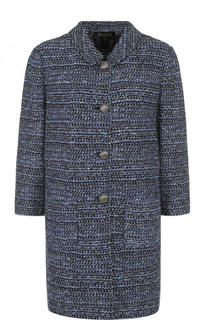 Буклированное пальто с укороченным рукавом и воротником-стойкой St. John