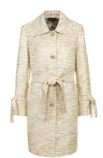 Буклированное пальто с поясом и отложным воротником St. John