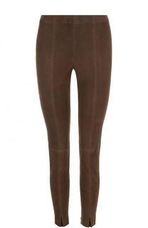 Укороченные замшевые брюки-скинни St. John