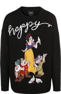 Шерстяной пуловер с круглым вырезом и вышивкой Alice + Olivia