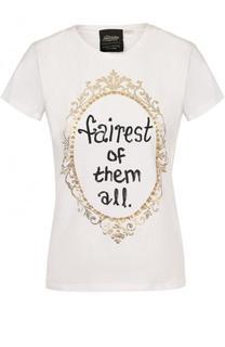 Приталенная хлопковая футболка с принтом Alice + Olivia