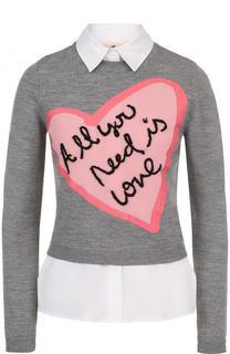 Шерстяной пуловер с хлопковыми вставками Alice + Olivia