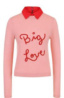 Кашемировый пуловер с надписью и отложным воротником Alice + Olivia