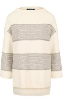 Пуловер из смеси кашемира и шерсти и укороченным рукавом St. John