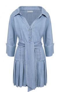 Джинсовое мини-платье с юбкой в складку и поясом Alice + Olivia