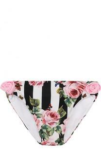 Плавки с принтом и цветочным декором Dolce & Gabbana