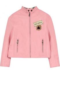 Кожаная куртка с аппликациями и воротником-стойкой Dolce & Gabbana