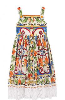Хлопковое платье с принтом и кружевной отделкой на бретельках Dolce & Gabbana