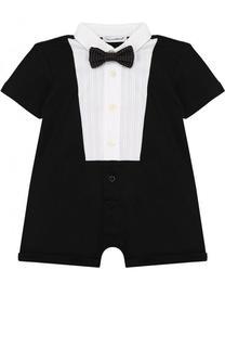 Хлопковый песочник с галстуком-бабочкой Dolce & Gabbana