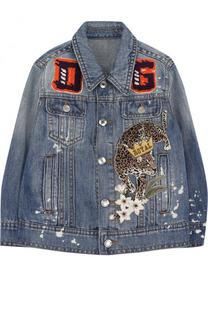 Куртка из денима и льна с аппликациями Dolce & Gabbana
