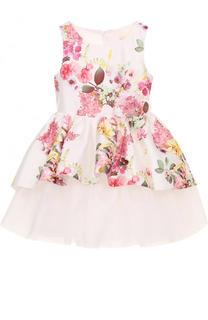 Многослойное платье с принтом и цветочным декором David Charles