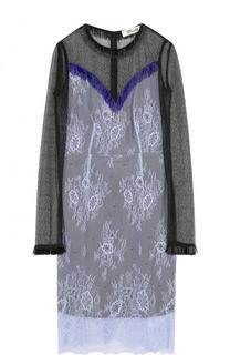 Приталенное кружевное платье-миди с длинным рукавом Diane Von Furstenberg