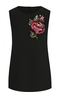Шелковый топ прямого кроя с контрастной вышивкой Dolce & Gabbana