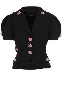 Приталенный шерстяной жакет с декорированными пуговицами Dolce & Gabbana