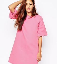 Джинсовое платье-футболка с необработанным краем Liquor & Poker - Розовый