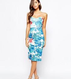 Платье миди с вырезом сердечком и цветочным принтом True Violet - Мульти